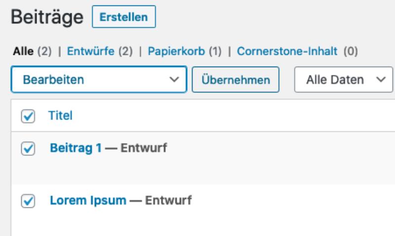 Massenverarbeitung von Beiträgen in WordPress