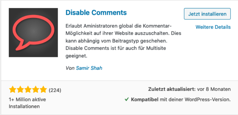 WordPress Plugin: Disable Comments zum deaktivieren von WordPress kommentaren