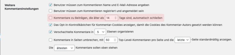 WordPress Kommentare nach 14 Tagen deaktivieren