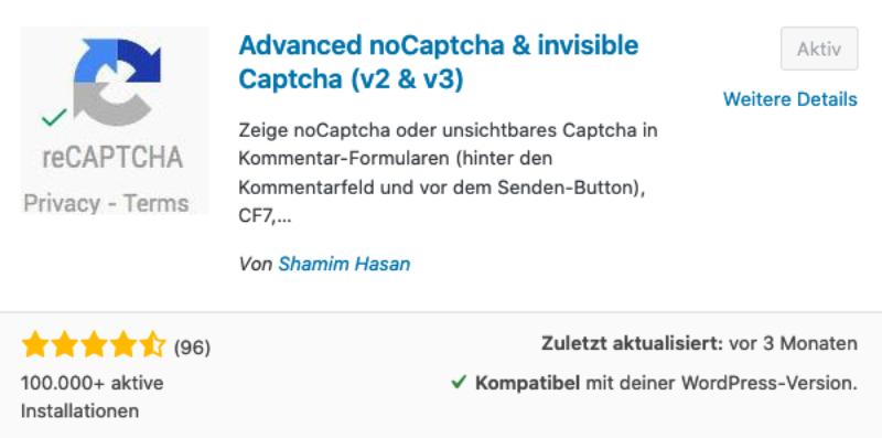 NoCaptcha für WordPress zum Schutz vor Spam