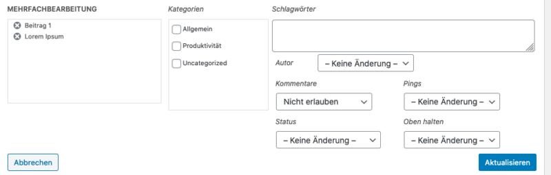 Massenverarbeitung eines WordPress Beitrages als Detailansicht
