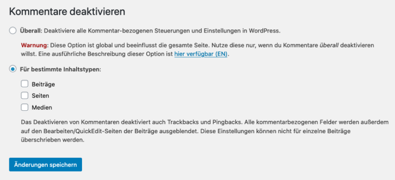 WordPress Plugin: Disable Comments Einstellungen