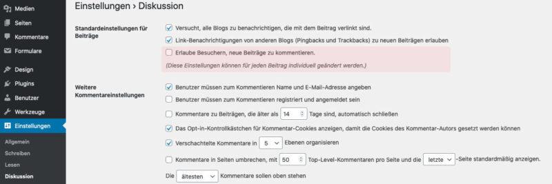 Kommentare zu zukünftigen Beiträgen in WordPress deaktivieren